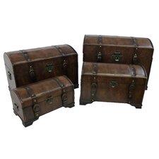 Seville Faux Leather Indoor Storage Trunks (Set of 4)