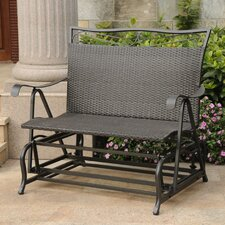 Valencia Wicker Resin Steel Frame Double Patio Glider Chair