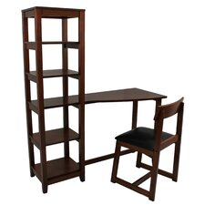Wallaston Writing Desk with Attached Book Shelf and Chair