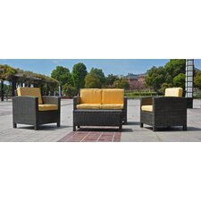 St. Maarten Wicker Resin 4 Piece Deep Seating Group with Cushion