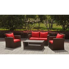 St. Lucia Wicker Resin Aluminum 4 Piece Deep Seating Group