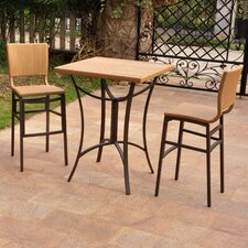 Barcelona Wicker Resin Bar Height Bistro 3 Piece Set