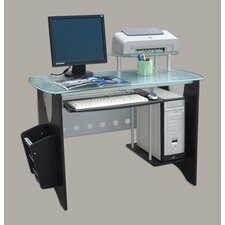 Glass Top Computer Desk with Side Rack and CPU Holder