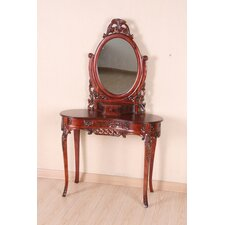 Hand Carved Vanity Desk with Mirror.