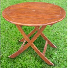 "<strong>International Caravan</strong> Acacia Patio 38"" Round Folding Dining Table"