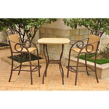 International Caravan Valencia 3-Piece Bar Height Patio Bistro Set