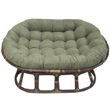 <strong>International Caravan</strong> Rattan Double Papasan Chair with Micro Suede Cushion