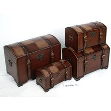 Seville Faux Leather Indoor Storage Trunks (Set of 4)