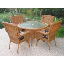 San Tropez Set of 5 Wicker ResinAluminum Patio Dining Set