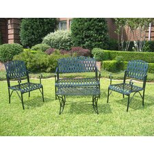<strong>International Caravan</strong> Iron Patio Diamond Lattice 4 Piece Lounge Seating Group