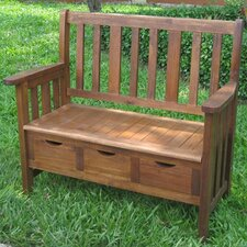 Highland Acacia 3-Drawer Outdoor Garden Bench
