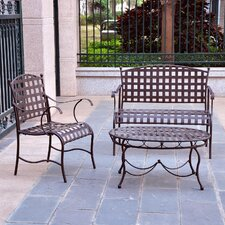 <strong>International Caravan</strong> Santa Fe Iron Patio 3 Piece Lounge Seating Group