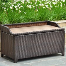 Barcelona Wicker Resin/Aluminum Outdoor Storage Trunk Bench
