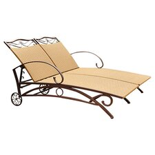 Valencia Outdoor Wicker Double Chaise Lounge in Pecan
