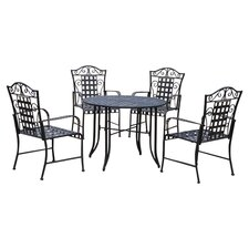 Iron Patio 5 Piece Dining Set in Black