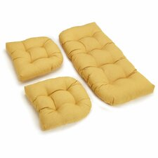 Wicker Settee and Chair Cushion (Set of 3)