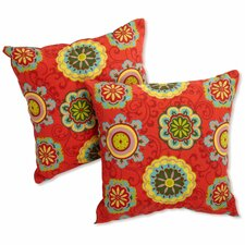 <strong>Blazing Needles</strong> Print Outdoor Throw Pillow (Set of 2)