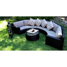 Half Round Pond 7 Piece Sectional Deep Seating Group with Cushions