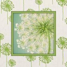 Fun with Dandelions Graphic Art on Canvas in Green and White