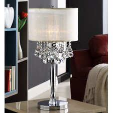 "Cortona 29.5"" H Mist Circular Base 3 Light Crystal Table Lamp"