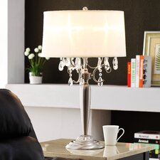 "Cortona 29.5"" H Mist 3 Light Crystal Table Lamp"