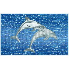 2 Piece Softy Pearl Dolphin Cushioned Bath Mat Set