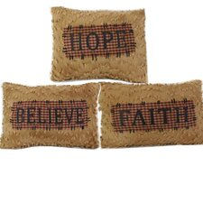 3 Piece Chenile Faith-Hope-Believe Pillow Set