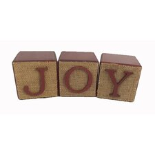 3 Piece Wooden Burlap Joy Block Set