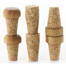 6 Piece Replacement Cork Bottle Stopper Set