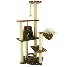 "66"" Classic Cat Tree in Saddle Brown with White Paw Print"