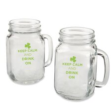 "Mason ""Keep Calm and Drink on"" Green Design Mug (Set of 4)"