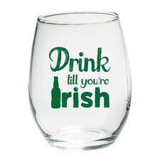 """Drink till you're Irish"" Green Design Stemless Wine Glass (Set of 4)"