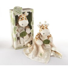"""Jakka the Giraffe"" Little Expeditions Plush Rattle Lovie with Crinkle Leaf"