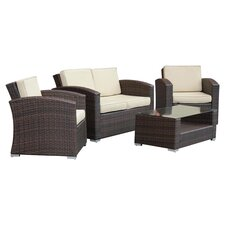 Bahia 4 Piece Deep Seating Group in Brown with Cushions