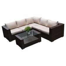Kessler 4 Piece Deep Seating Group in Black with Cushions