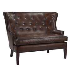 Button Back Winged Leather Settee