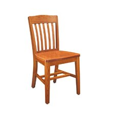 "Select Series 16"" Solid Oak Classroom Slat Back Chair"