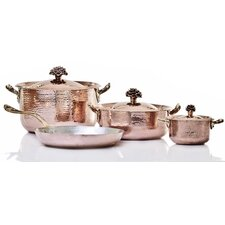 Fiore Hand-Forged Copper 7-Piece Cookware Set with Crate
