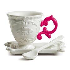 I-Wares Porcelain 3 Piece Coffee Cup & Saucer Set