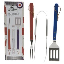 3 Piece BBQ Tool Set with Colour Box