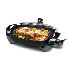 "Gourmet 12"" x 12"" Electric Skillet with Glass Lid"
