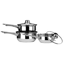 3 Piece Stainless Steel Saucepan Set with Lid