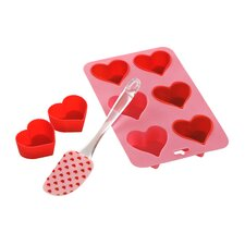 8 Piece Silicone Heart Baking Set