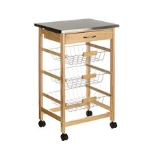 Kitchen Trolley with 3 Wire Baskets