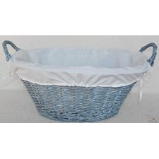 Wicker Lined Laundry Basket