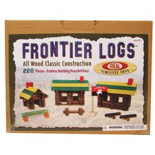 Wood Construction 220 pieces Frontier Logs in Canister