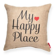 Expressive My Happy Place Burlap Throw Pillow