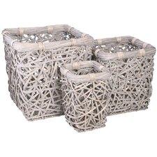3 Piece Mesh Laundry Square Basket Set