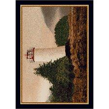 Fall Seasonal Brown/White Cape Lighthouse Area Rug