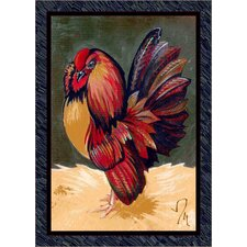 Fall Seasonal Red/Green Provincial Rooster Area Rug